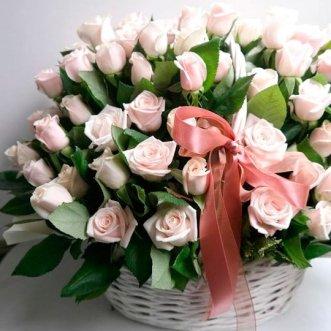 101 роза в корзине